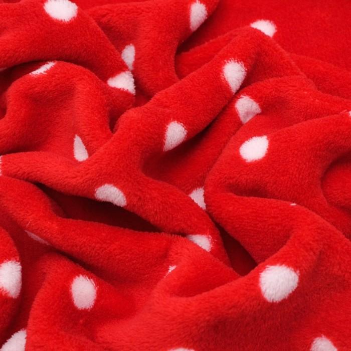 Трикотаж костюмный, велсофт набивной, горошки, ширина 150 см, цвет красный