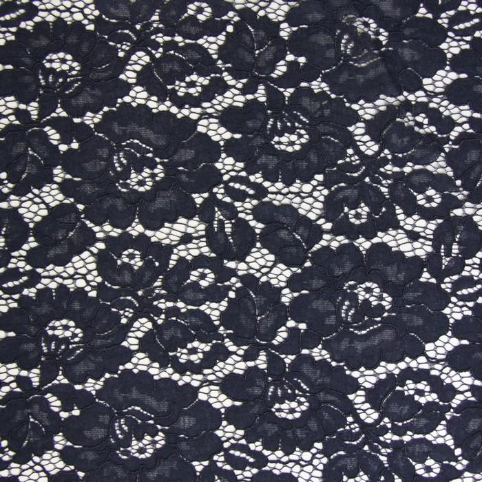 Ткань плательная, кружево, ширина 150 см, тёмно-синий