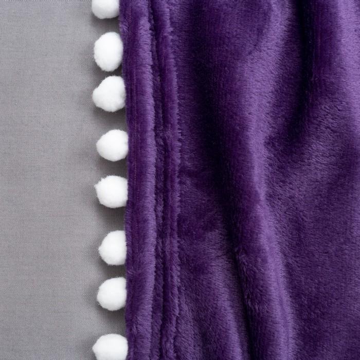 """Плед """"Этель"""" с бомбошками , фиолетовый, р-р 130х180 см, 100% П/Э, велсофт"""