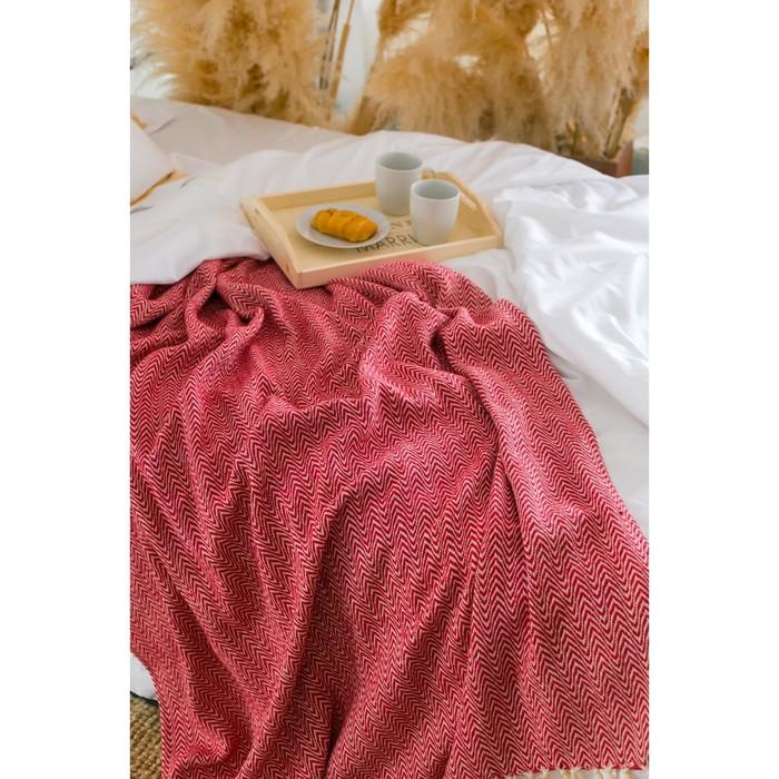 Плед «Этель Марвари», 140х200 ± 5 см, цвет красный.