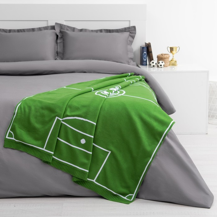 """Вязаный плед """"Этель"""" Поле, размер 110х140 см, цвет зелёный"""