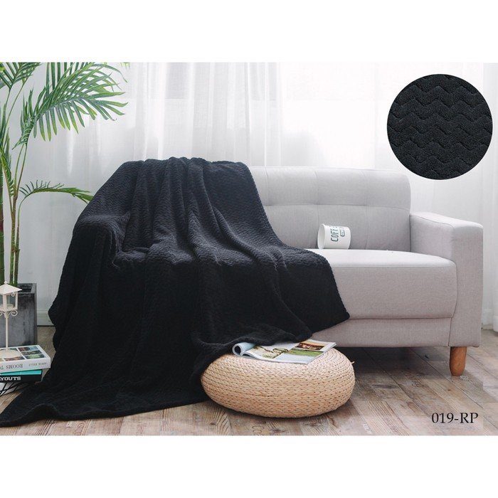 Плед Royal plush, размер 200 × 220  см, цвет чёрный, велсофт