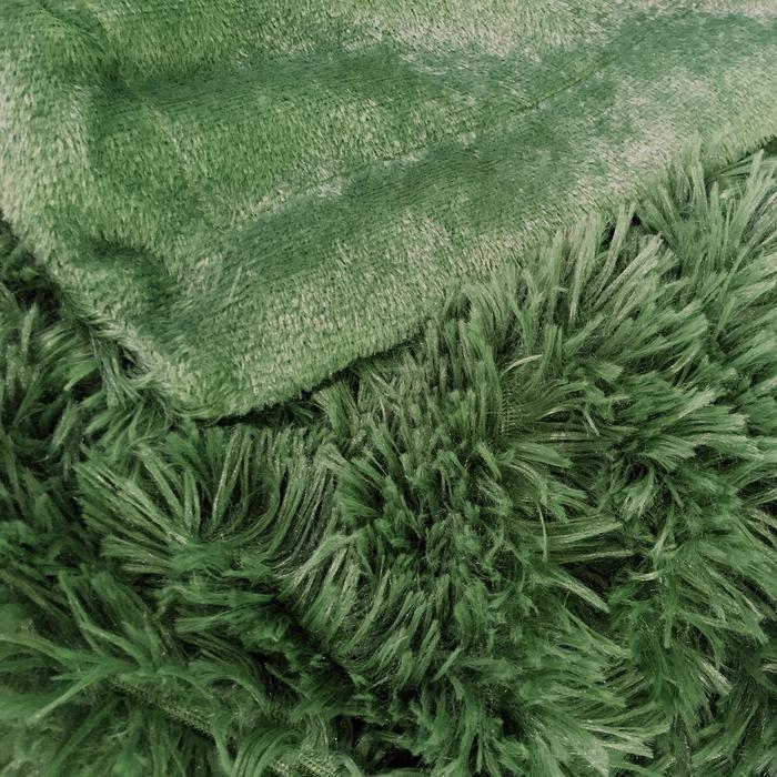 "Плед мех ""Шиншилла"" двухсторонний, 240х220 см, зеленый"
