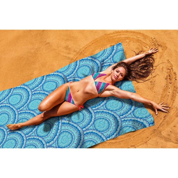 """Пляжное покрывало """"Синие волны"""" 145х200 см, микрофибра, полиэстер 100%"""