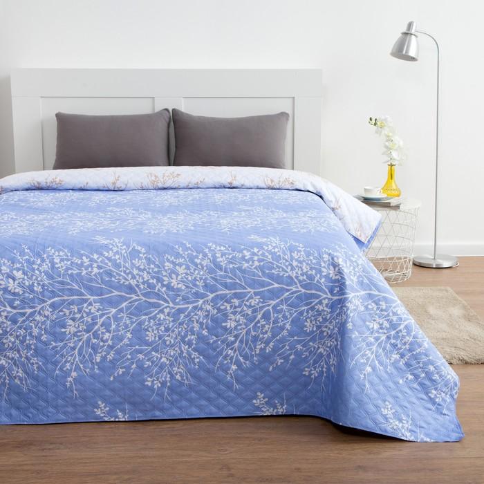 Покрывало Этель евро макси «Нежность» цв. голубой 240×210 ± 5 см, новосатин, 80 г/м²