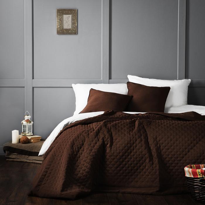 Комплект «Каспиан»: покрывало 230 × 250 см, наволочки 45 × 45 см - 2 шт, коричневый