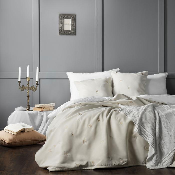 Комплект «Прайм»: покрывало 230 × 250 см, наволочки 45 × 45 см - 2 шт, кремовый