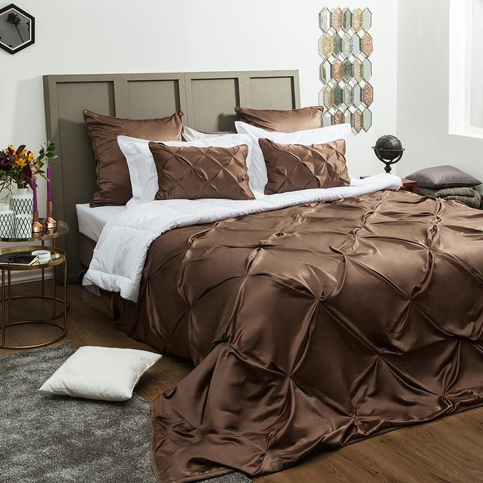 Комплект «Шанти»: покрывало 250 × 270 см, наволочки 40 × 60 см - 2 шт, коричневый