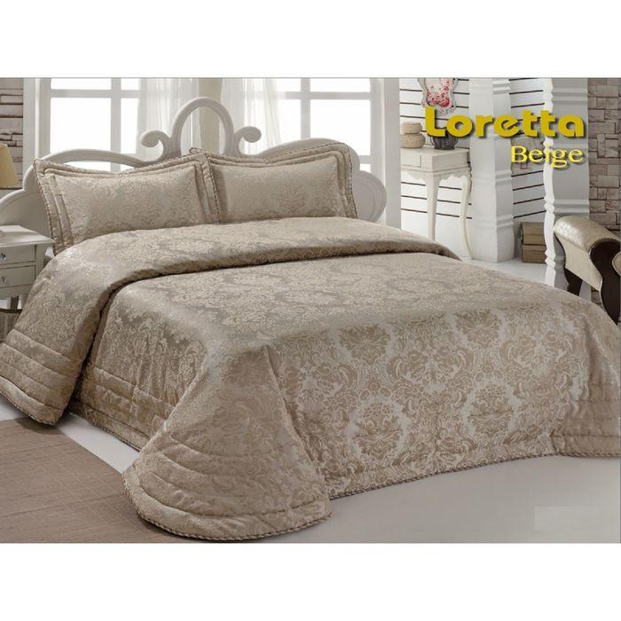 Комплект Loretta: покрывало 250 × 270 см, наволочки 50 × 70 - 2 шт, бежевый