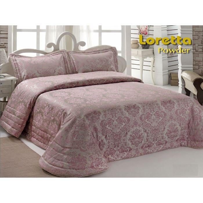 Комплект Loretta: покрывало 250 × 270 см, наволочки 50 × 70 - 2 шт, пудра