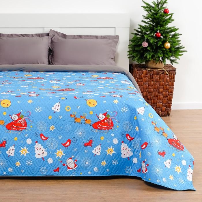 Покрывало «Экономь и Я» Новогодний снегопад 2 сп. 180×210 см, микрофайбер, 75 г/м²