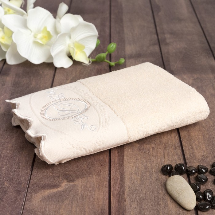Полотенце махровое Belle 34x78 см, хлопок 100%, бежевый, 380 г/м2