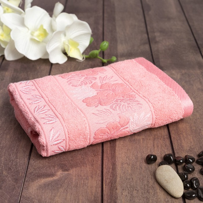 """Полотенце махровое """"Однотонные -кайма"""" 50х90 см, хлопок 100%, розовый, 450 г/м2"""