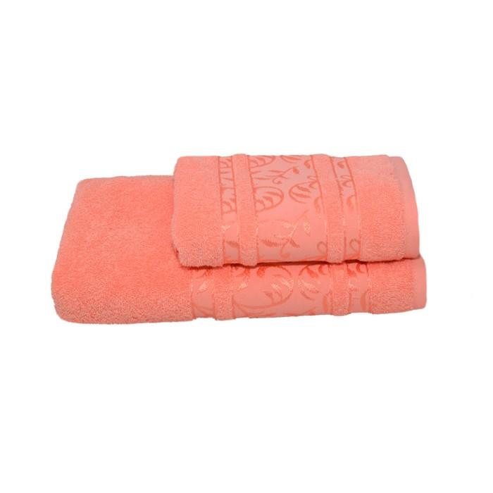 Полотенце махровое Флора 50х90 +/- 2 см, персиковый, хлопок 100%, 430г/м2
