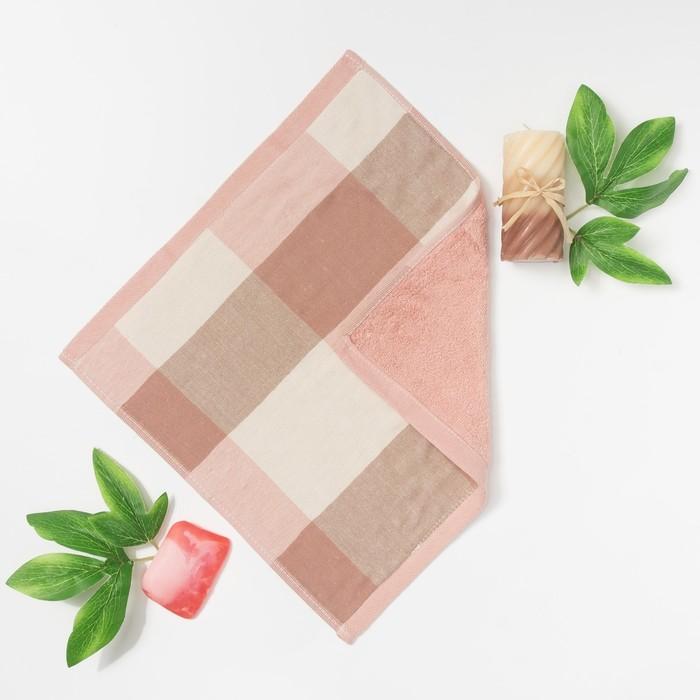 """Полотенце двухстороннее """"Этель"""" Клетка цв. розовый 35х35 см, 380 г/м2, 100% хлопок"""