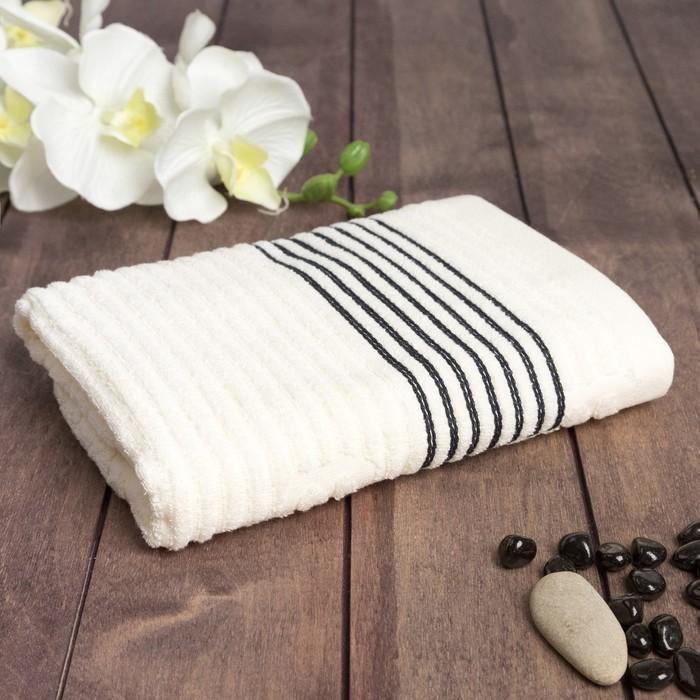 """Полотенце махровое """"Полоса"""" 50х90 см, хлопок 100%, молочный, 420 г/м2"""