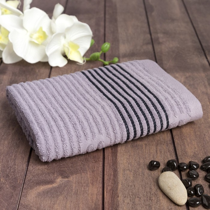 """Полотенце махровое  """"Полоса"""" 50х90 см, хлопок 100%, серый, 420 г/м2"""