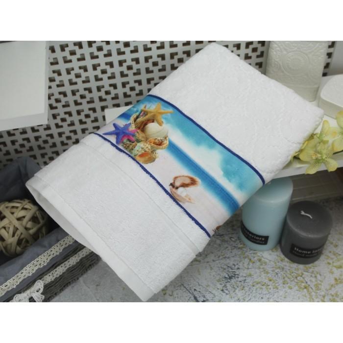 Полотенце махровое c фотопринтом Морская звезда 45х90 см, белый, 400 гр/м2