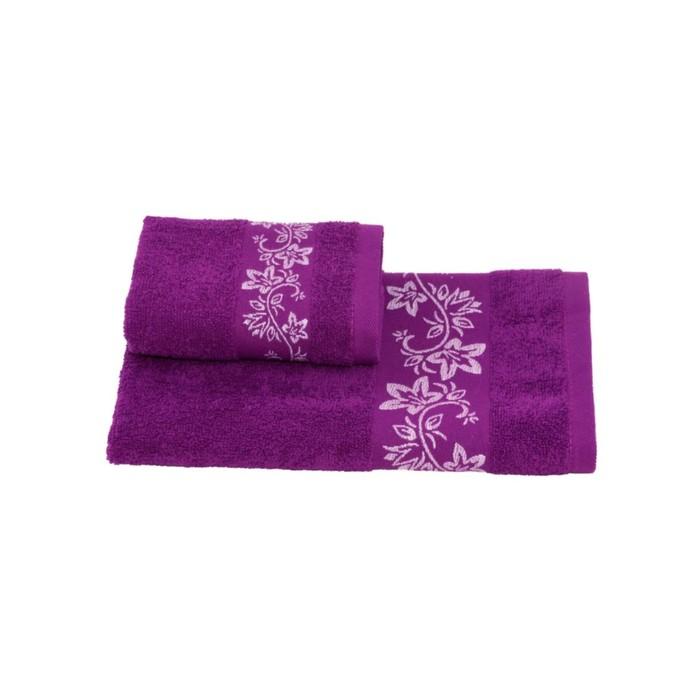 Полотенце махровое Цветок 30х60 +/- 2 см, фиолетовый, хлопок 100%, 360г/м2