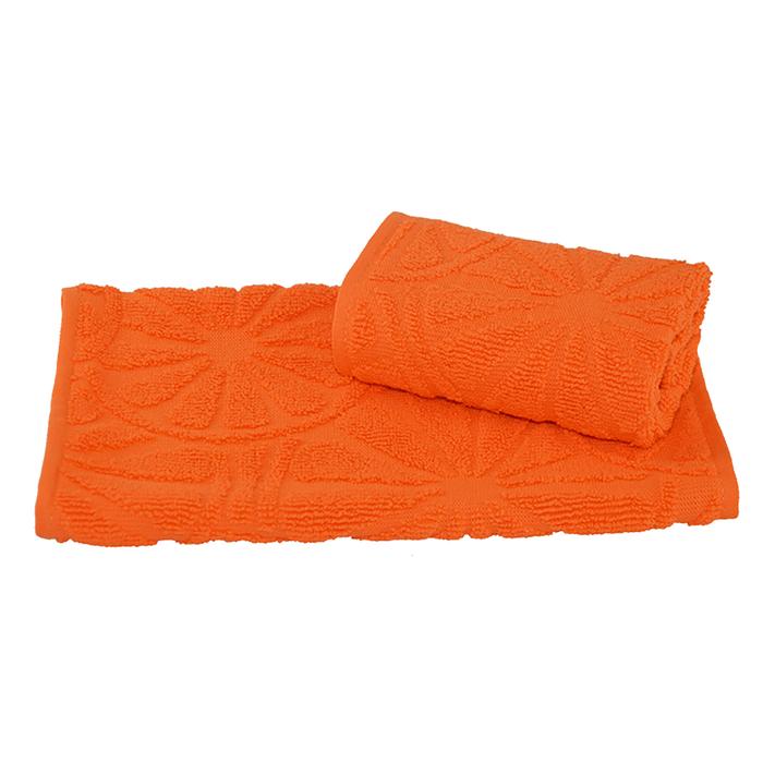 Полотенце махровое жаккардовое 30×50 см 400 г/м2, оранжевый, 100% хлопок