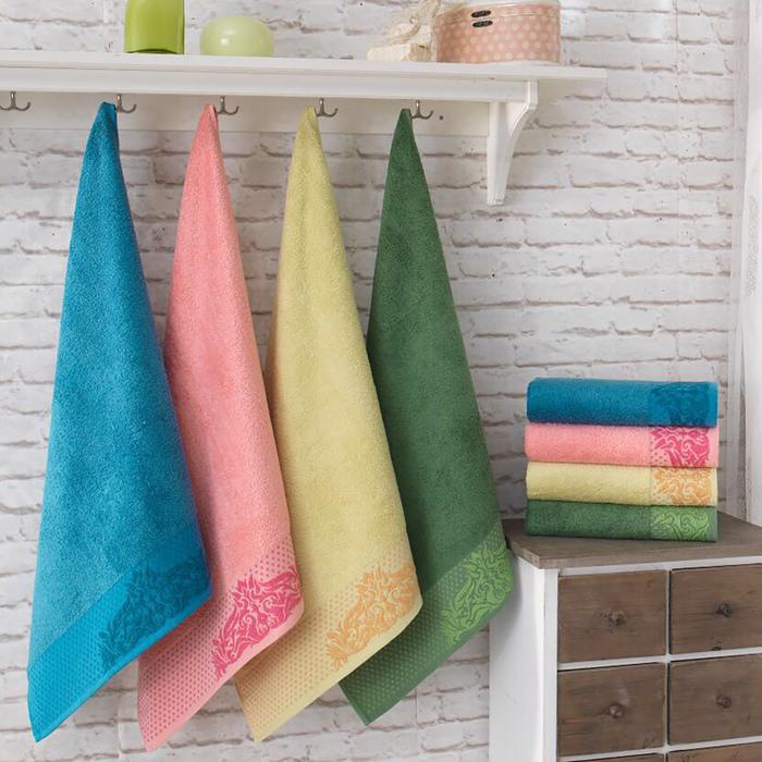 Полотенце Бамбук 50х90 см, розовый, хлопок 100 %, 500 г/м²