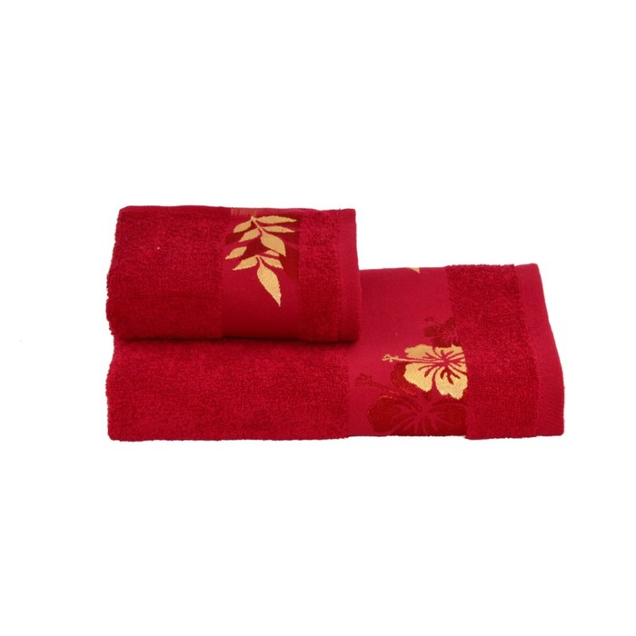 Полотенце махровое 30х60 +/- 2 см, красный, хлопок 100%, 360 г/м2