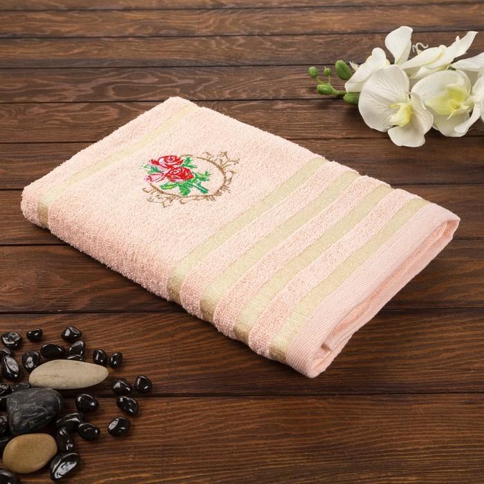 Полотенце махровые Музыка 70х140 см, персик, хлопок 100%, 315 г/м2