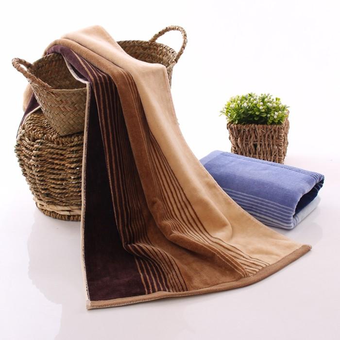 Полотенце махровое «Мужская полоса», 50х90 см, коричневое, хлопок