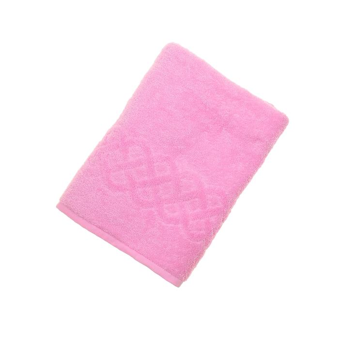 Полотенце махровое жаккард банное Plait, размер 70х130 см, 350 г/м2, цвет розовый