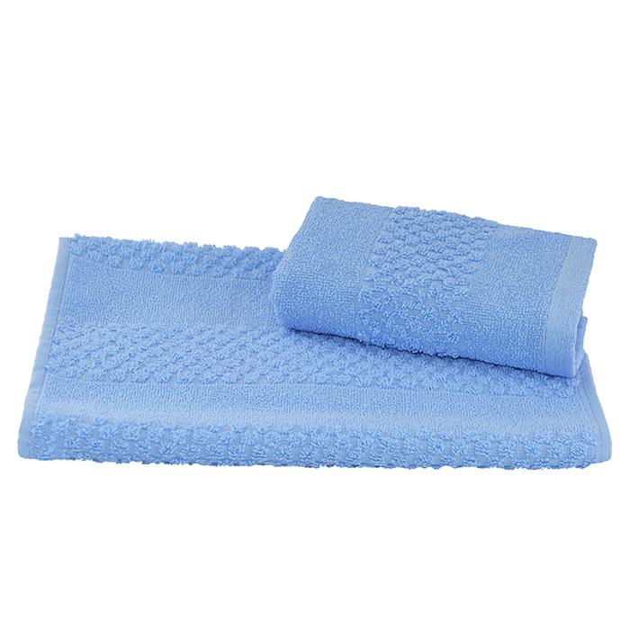 Полотенце махровое гладкокрашеное 30×60 см 360 г/м2, голубой, 100% хлопок