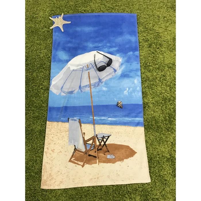 Полотенце пляжное махровое ПАВЛИНА Океанский бриз 70х140 см, хлопок 100%