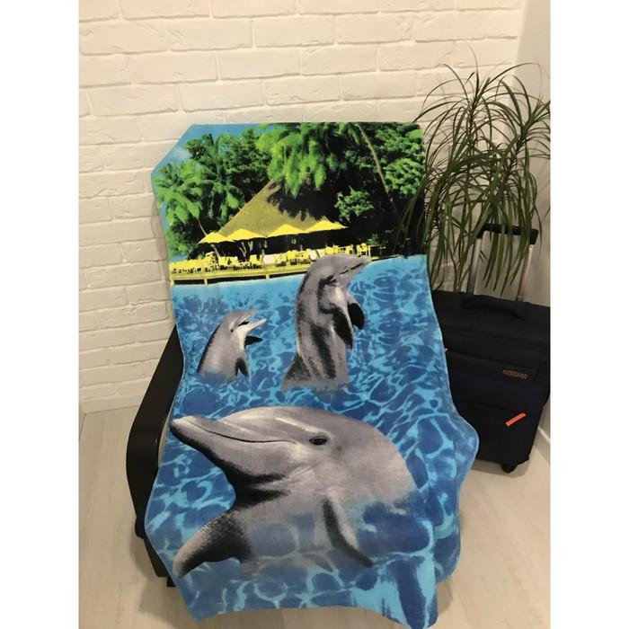 Полотенце пляжное махровое ПАВЛИНА Дельфины 70х140 см, хлопок 100%