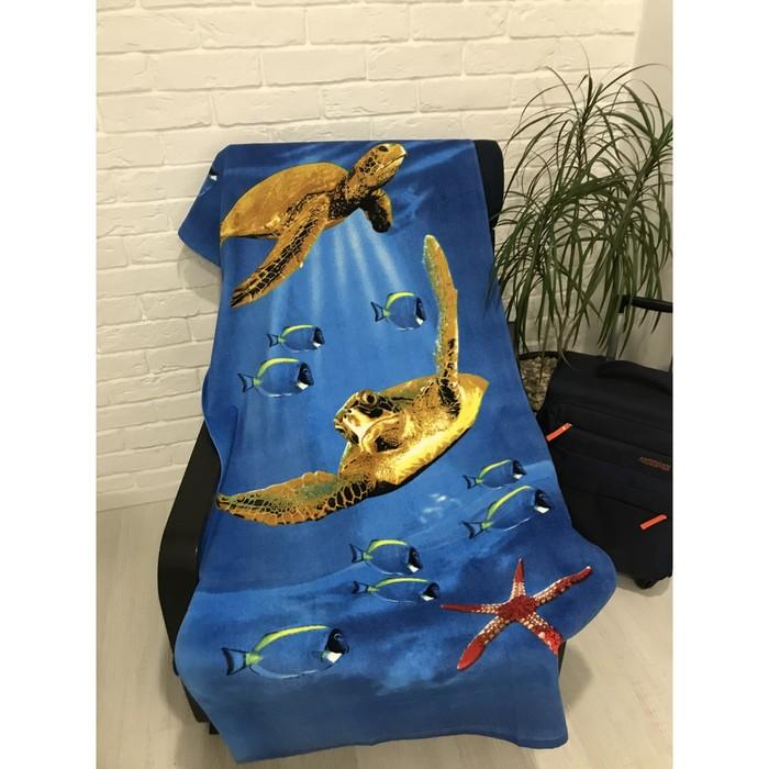 Полотенце пляжное махровое ПАВЛИНА Морские черепахи 70х140 см, хлопок 100%