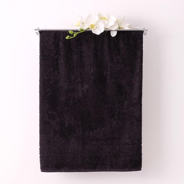 Полотенце махровое однотонное Антей 70х140 см, черный, 100% хлопок, 430 гр/м2