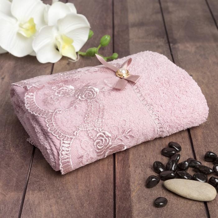 """Полотенце махровое  """"Кайма-роза"""" 70х140 см, хлопок 100%, сирень, 420 г/м2"""