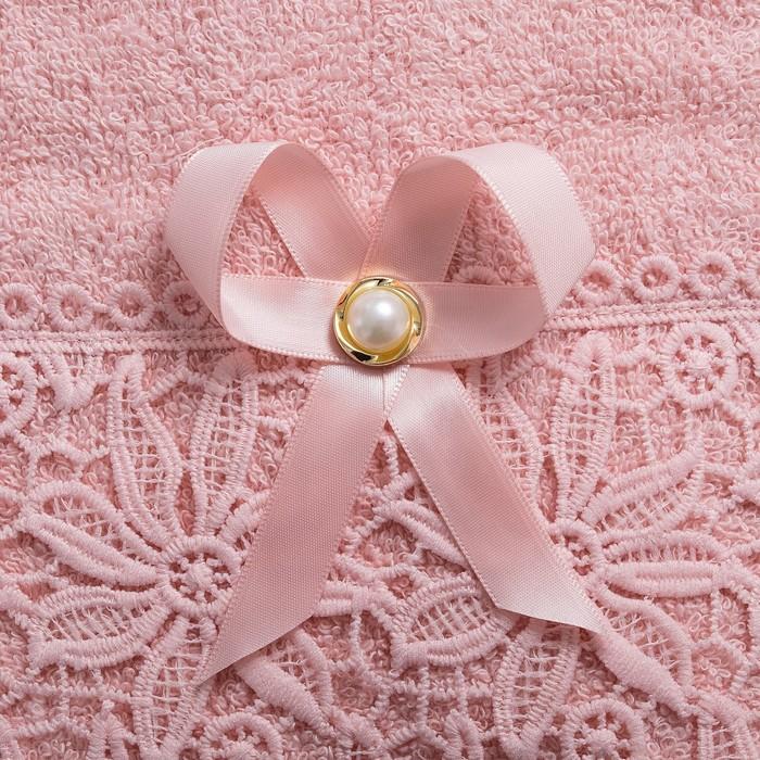 """Полотенце махровое  """"Ромашка"""" 70х140, розовый, 420 г/м2"""