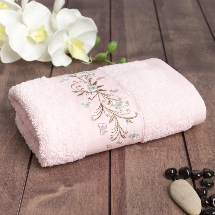 "Полотенце махровое  "" Цветок кайма "" 70х140 см, хлопок 100%, розовый, 450 г/м2"
