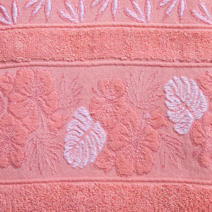 """Полотенце махровое  """"Однотонные -кайма"""" 70х140 см, хлопок 100%, розовый, 450 г/м2"""