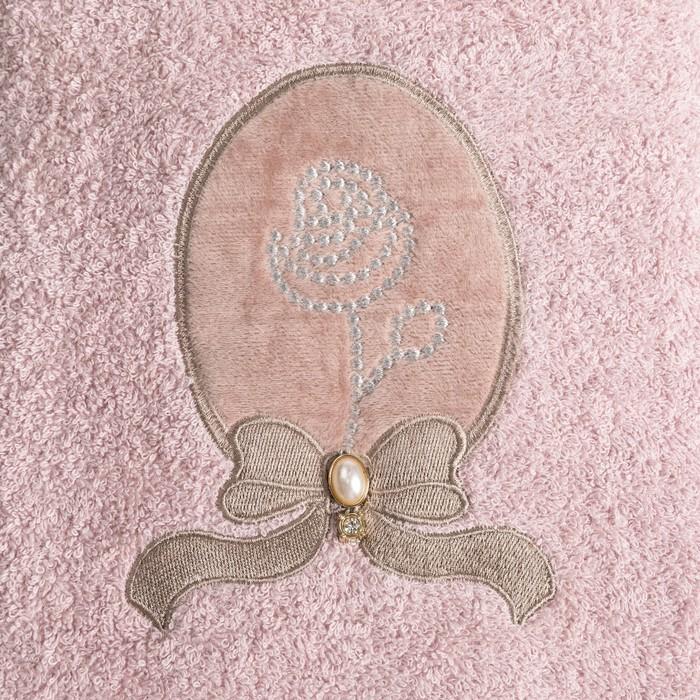 Полотенце махровое Бусинка апликация 70х140 см, розовый, хлопок 100%, 420 г/м2