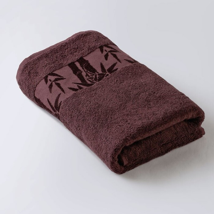 Полотенце «Бамбук», размер 50 × 90 см, махра, цвет каштановый