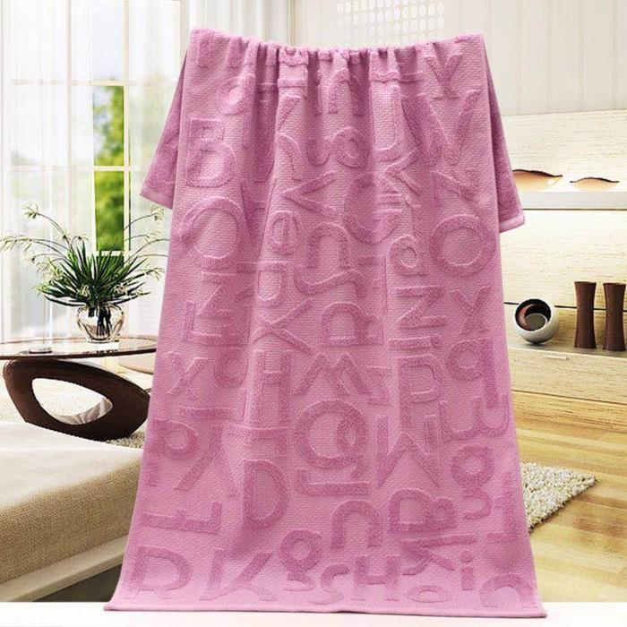Полотенце махровое «Алфавит», 70х140 см, цвет розовый