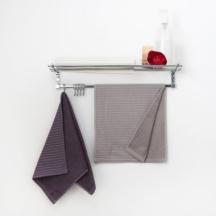 """Полотенце двухстороннее """"Этель"""" Олимп светло-серый 70 х140 см, 380 г/м2, 100% хлопок"""