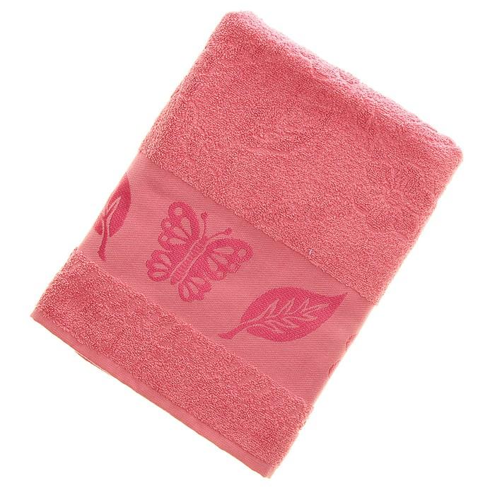 Полотенце махровое Fiesta Cotonn Butterfly 70х130 см, цвет розовый, хлопок 500г/м2