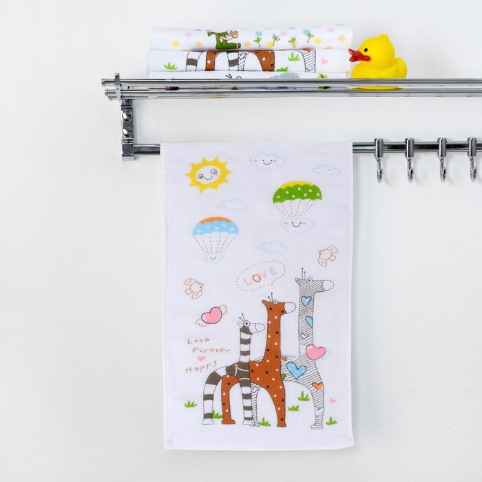 "Полотенце двухстороннее Крошка Я ""Жирафы"" 25 х 50 см, 100% хлопок   3539410"