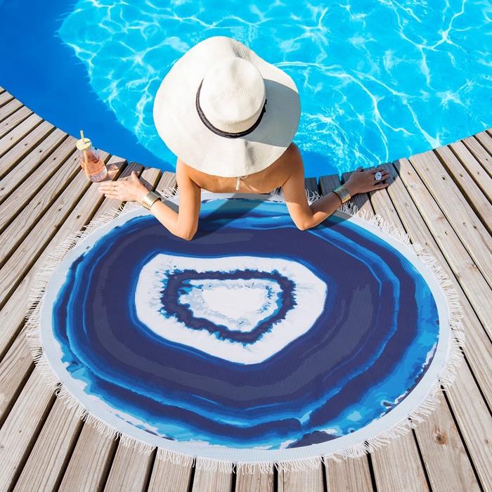Полотенце пляжное круглое Этель «Минерал» цвет синий, диаметр 150 см, 100 % п/э