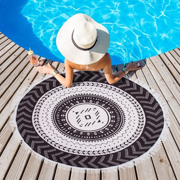 Полотенце пляжное круглое Этель Black, диаметр 150 см, 100 % п/э