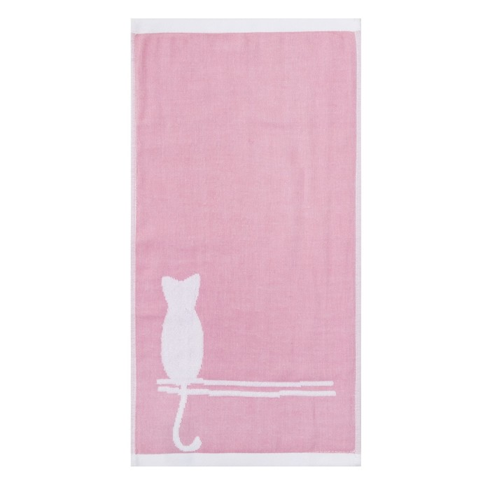 """Полотенце двухстороннее """"Этель"""" Кошка розовый 25*50 см, 380 г/м2, 100% хлопок"""