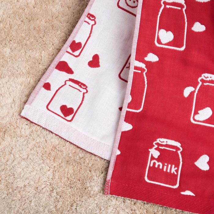 """Полотенце двухстороннее Крошка Я""""Milk""""цв.красный,70х140см,315г/м2,100% хлопок"""