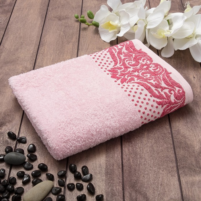 Полотенце махровое TOSKANA Танаис 70х130 см, розовый, хлопок 100%, 450 г/м2