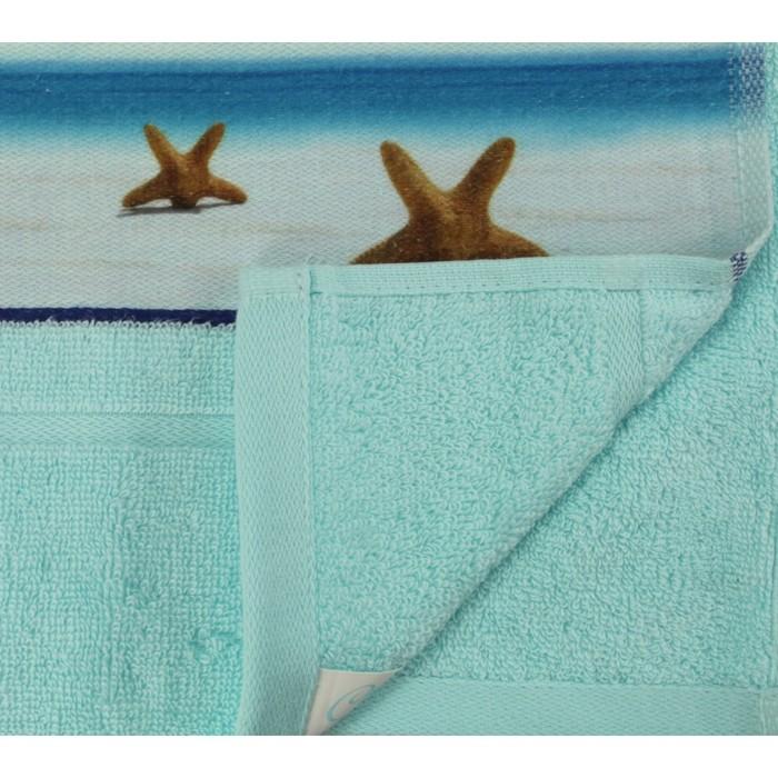 Полотенце махровое c фотопринтом Морская звезда 70х140 см, голубой, 400 гр/м2